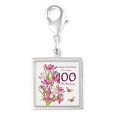 100th Birthday Pink Crocus Silver Square Charms