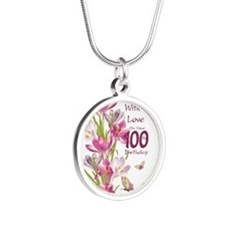 100th Birthday Pink Crocus Silver Round Necklaces