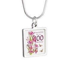 100th Birthday Pink Crocus Silver Square Necklaces