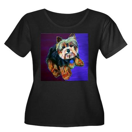 Yorkie! Women's Plus Size Scoop Neck Dark T-Shirt
