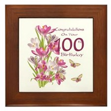 100th Birthday Pink Crocus Framed Tile