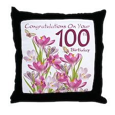 100th Birthday Pink Crocus Throw Pillow
