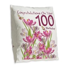 100th Birthday Pink Crocus Burlap Throw Pillow