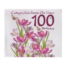 100th Birthday Pink Crocus Throw Blanket