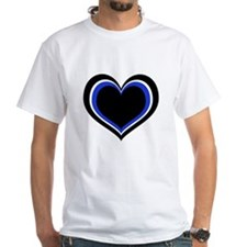 Blue, Black and White Hearts T-Shirt