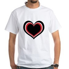 Red, Black and White Heart T-Shirt