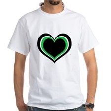 Green, Black and White Hearts T-Shirt