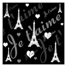 Trendy Black White French I LOVE PARIS Invitations