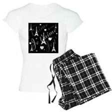 Trendy Black White French I LOVE PARIS pajamas