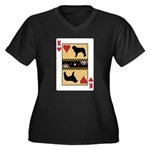 King Kuvasz Women's Plus Size V-Neck Dark T-Shirt