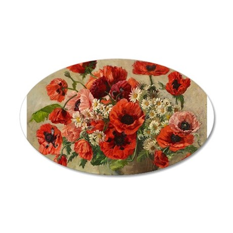 Red Poppy Bouquet Wall Decal