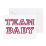 Team Baby in Pink and Black Greeting Cards