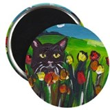 Black cat amongst tulips Magnet