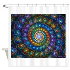 Fractal Spiral Shell Beads Shower Curtain