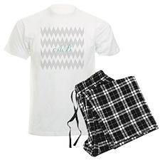 Gray Chevron Teal Monogram Pajamas