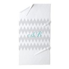Gray Chevron Teal Monogram Beach Towel