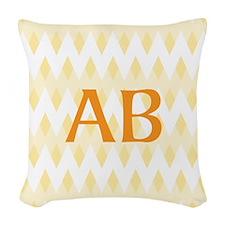 Yellow Chevron Orange Monogram Woven Throw Pillow
