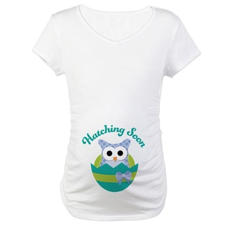 Hatching Soon Easter Owl Maternity Maternity T-Shi