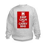 Keep Calm Carry Bins Kids Sweatshirt