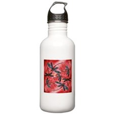 Dragonflies Tangerine Sky Sports Water Bottle