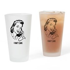 Retro I don't care Drinking Glass