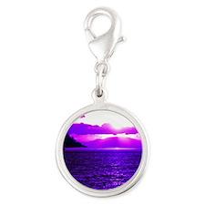 purple sunset Silver Round Charm