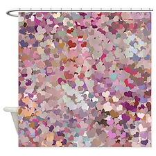 Pink Confetti Hearts Shower Curtain