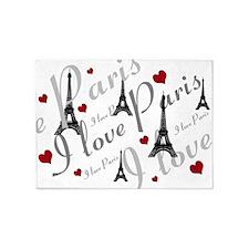 Trendy I LOVE PARIS 5'x7'Area Rug