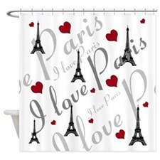 Trendy I LOVE PARIS Shower Curtain
