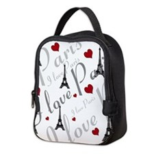 Trendy I LOVE PARIS Neoprene Lunch Bag