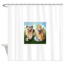 Yorkie Queen and Player Shower Curtain