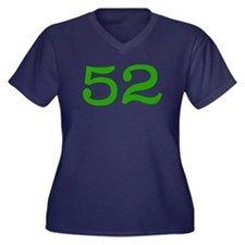 GREEN #52 Women's Plus Size V-Neck Dark T-Shirt