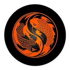 Orange and Black Yin Yang Koi Fish Round Car Magne