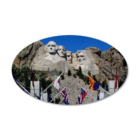 Mt Rushmore Avenue of Flags  35x21 Oval Wall Decal