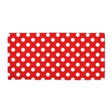Red and White Polka Dots Beach Towel