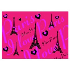 Hot Pink & Black I LOVE PARIS Invitations