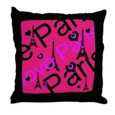 Hot Pink & Black I LOVE PARIS Throw Pillow