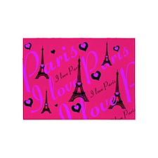 Hot Pink & Black I LOVE PARIS 5'x7'Area Rug