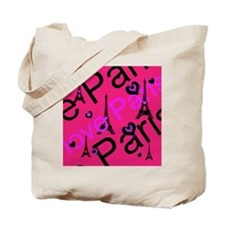 Hot Pink & Black I LOVE PARIS Tote Bag