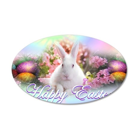 Happy-Easter-Bunny- 35x21 Oval Wall Decal