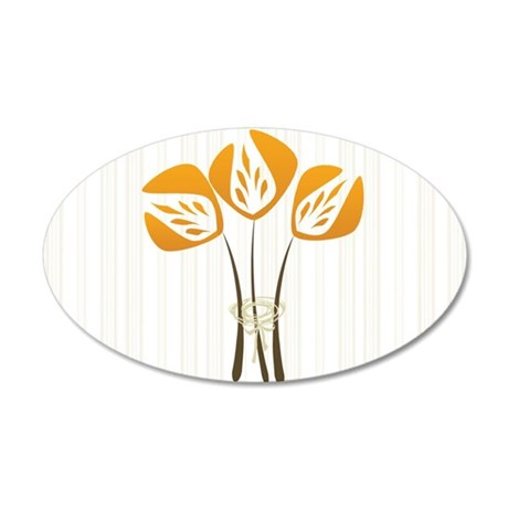 Art Deco Style Spring Orange 20x12 Oval Wall Decal