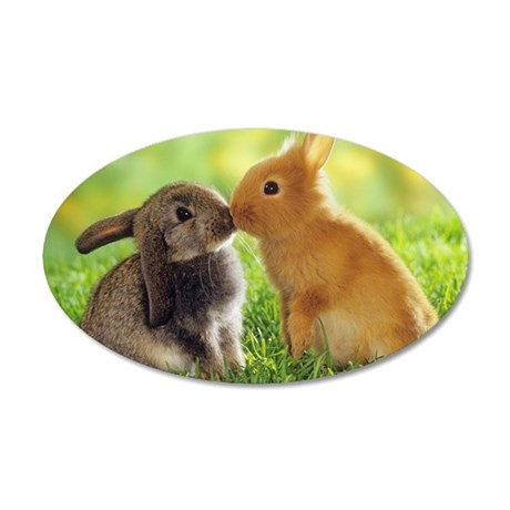rabbits 35x21 Oval Wall Decal