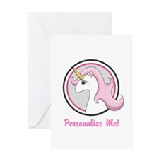 Pink Unicorn Emblem Greeting Cards