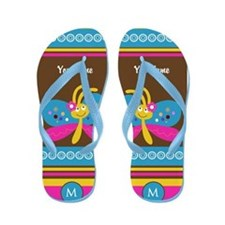 Girly Monogram Butterfly Flip Flops