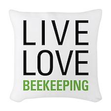Live Love Beekeeping Woven Throw Pillow
