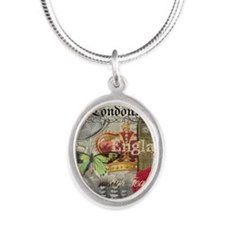 London England Vintage Travel Collage Necklaces