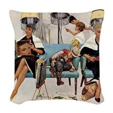 Retro Beauty Salon, Vintage Poster Woven Throw Pil