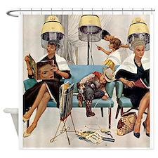 Retro Beauty Salon, Vintage Poster Shower Curtain