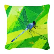 Blue Dragonfly on Green Abstract Impressionism Wov