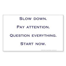 Slow Down. Pay Attention. Sticker 3x5